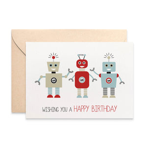 Robots Greeting Card by mumandmehandmadedesigns- An Australian Online Stationery and Card Shop