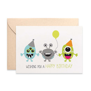 Party Monsters Greeting Card by mumandmehandmadedesigns- An Australian Online Stationery and Card Shop