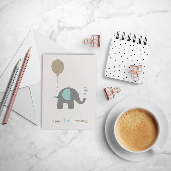 Elephant with Party Balloon Greeting Card by mumandmehandmadedesigns- An Australian Online Stationery and Card Shop