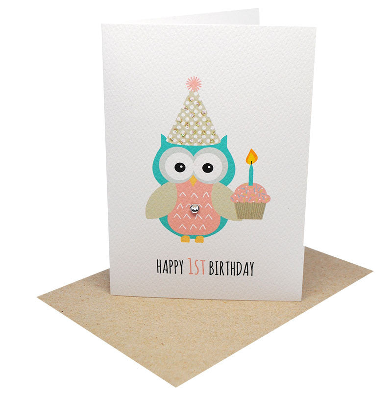 Girl Party Owl with Cupcake-Greeting Card-Mum and Me Handmade Designs