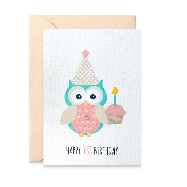 Girl Party Owl with Cupcake Greeting Card by mumandmehandmadedesigns- An Australian Online Stationery and Card Shop