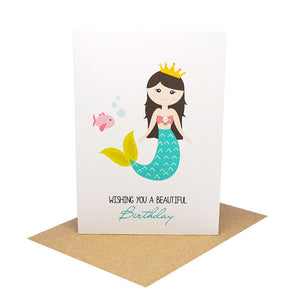 Mermaid with Fish-Greeting Card-Mum and Me Handmade Designs