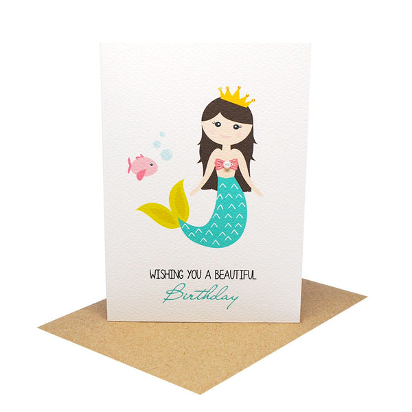 Mermaid with Fish Greeting Card by mumandmehandmadedesigns- An Australian Online Stationery and Card Shop