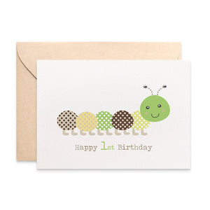Green and Brown Caterpillar Greeting Card by mumandmehandmadedesigns- An Australian Online Stationery and Card Shop