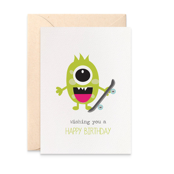 Monster with Skateboard Greeting Card by mumandmehandmadedesigns- An Australian Online Stationery and Card Shop