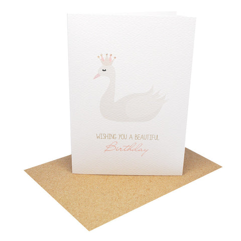 White Swan Greeting Card by mumandmehandmadedesigns- An Australian Online Stationery and Card Shop