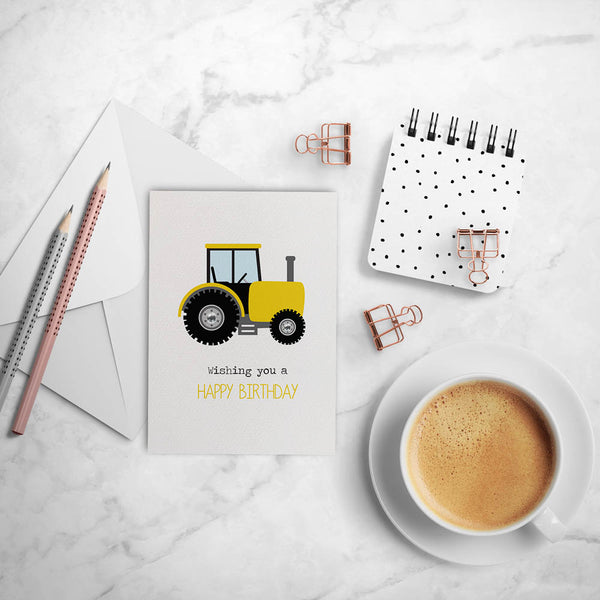 Yellow and Black Tractor Greeting Card by mumandmehandmadedesigns- An Australian Online Stationery and Card Shop