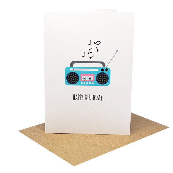 Boombox Greeting Card by mumandmehandmadedesigns- An Australian Online Stationery and Card Shop