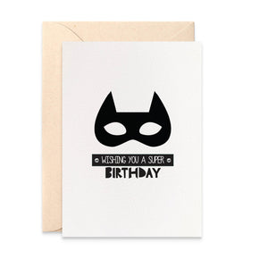 Monochrome Superhero Mask Greeting Card by mumandmehandmadedesigns- An Australian Online Stationery and Card Shop