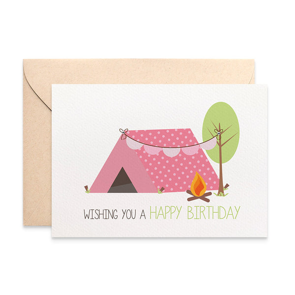 Girl's Camping Greeting Card by mumandmehandmadedesigns- An Australian Online Stationery and Card Shop