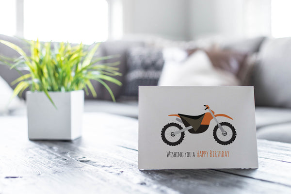 Motorbike Greeting Card by mumandmehandmadedesigns- An Australian Online Stationery and Card Shop
