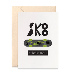 Sk8 Skateboard Greeting Card by mumandmehandmadedesigns- An Australian Online Stationery and Card Shop