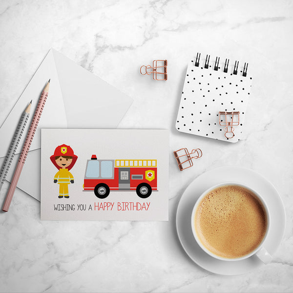Firefighter Greeting Card by mumandmehandmadedesigns- An Australian Online Stationery and Card Shop