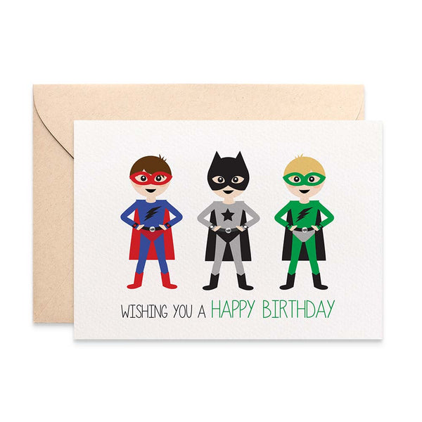 Superheroes Greeting Card by mumandmehandmadedesigns- An Australian Online Stationery and Card Shop