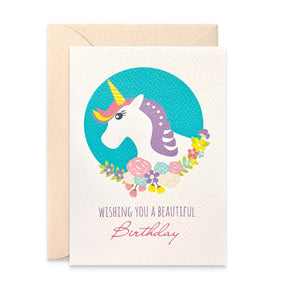 Unicorn with Flowers Greeting Card by mumandmehandmadedesigns- An Australian Online Stationery and Card Shop