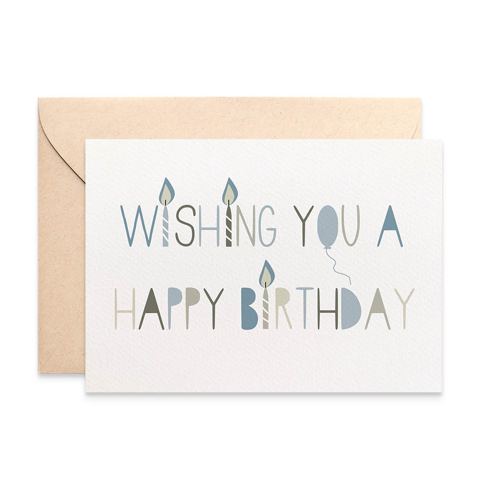 Blue Birthday Candles Greeting Card by mumandmehandmadedesigns- An Australian Online Stationery and Card Shop