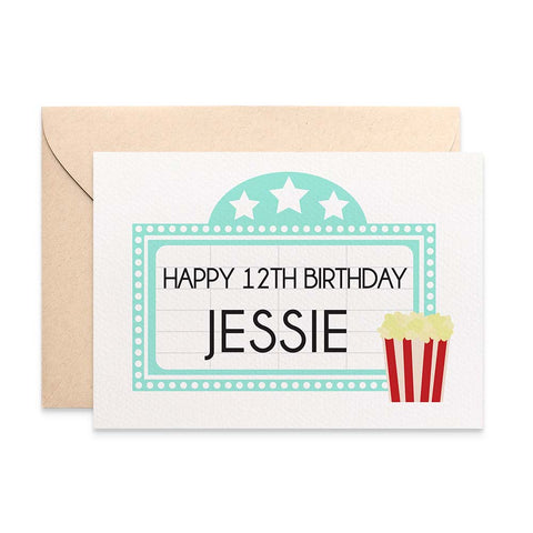 Personalised - Movie Marquee Greeting Card by mumandmehandmadedesigns- An Australian Online Stationery and Card Shop