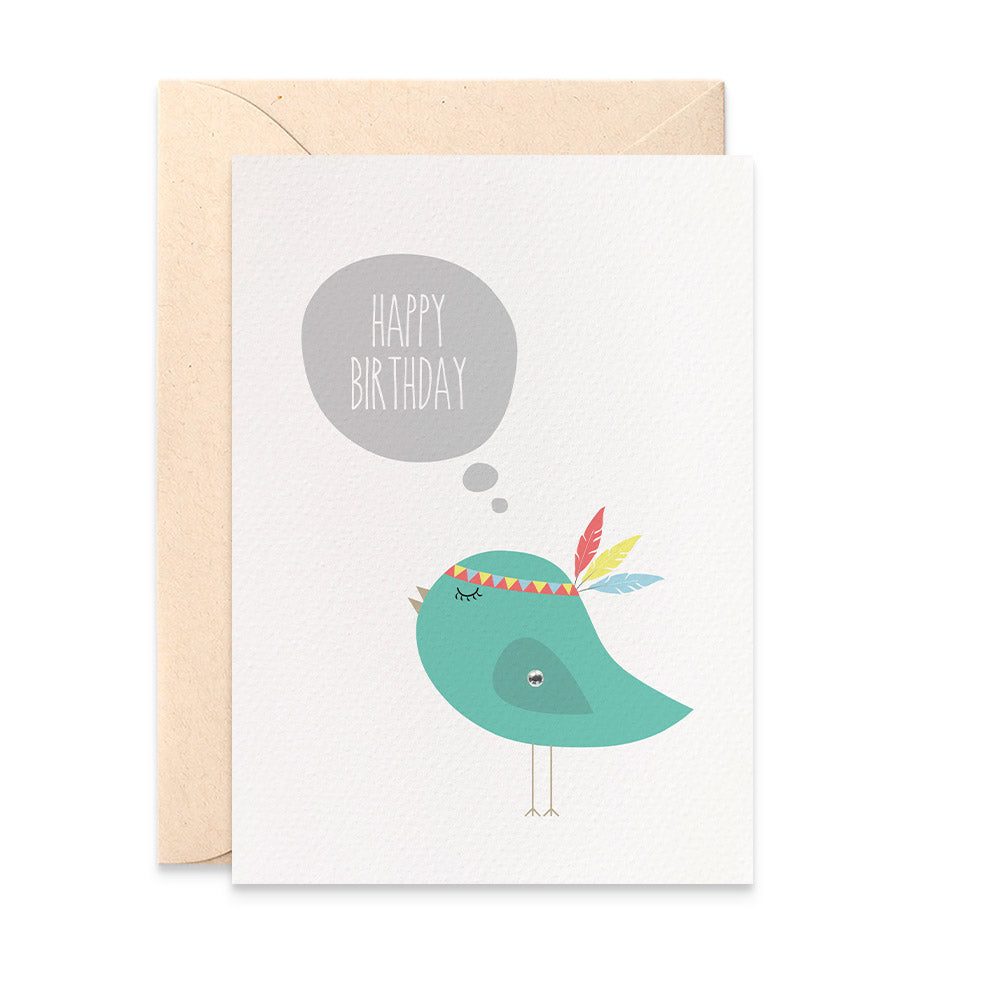 Birdie with Feathers Greeting Card by mumandmehandmadedesigns- An Australian Online Stationery and Card Shop