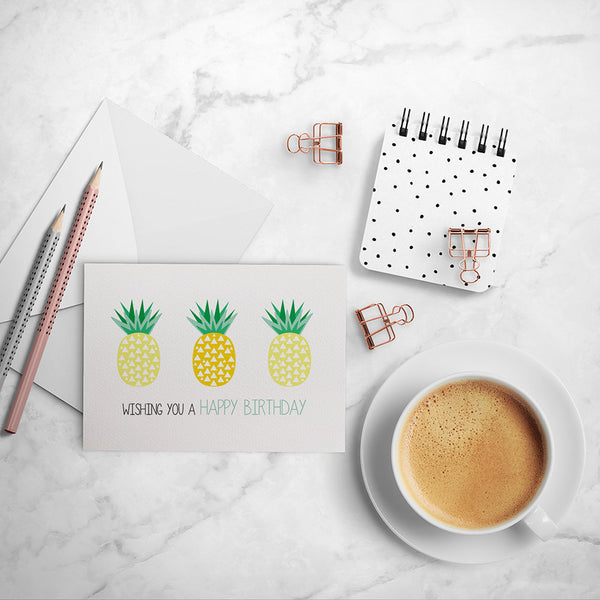 Geometric Pineapples Greeting Card by mumandmehandmadedesigns- An Australian Online Stationery and Card Shop
