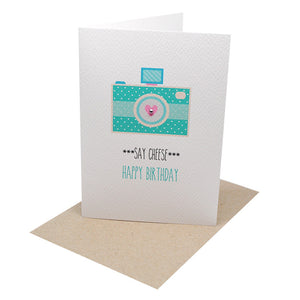 Turquoise Polkadot Camera Greeting Card by mumandmehandmadedesigns- An Australian Online Stationery and Card Shop