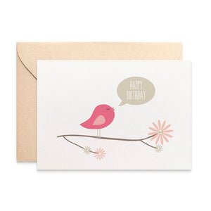 Pink Bird on Branch Greeting Card by mumandmehandmadedesigns- An Australian Online Stationery and Card Shop
