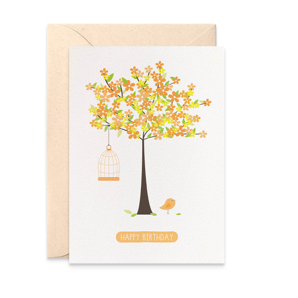 Orange Blossom Tree Greeting Card by mumandmehandmadedesigns- An Australian Online Stationery and Card Shop