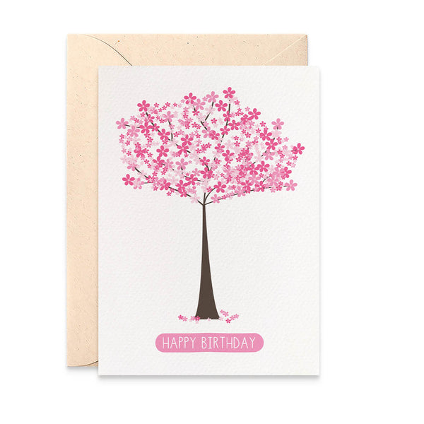 Pink Cherry Blossom Tree Greeting Card by mumandmehandmadedesigns- An Australian Online Stationery and Card Shop