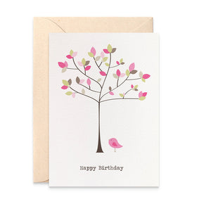 Pretty Leaves with Pink Bird Greeting Card by mumandmehandmadedesigns- An Australian Online Stationery and Card Shop