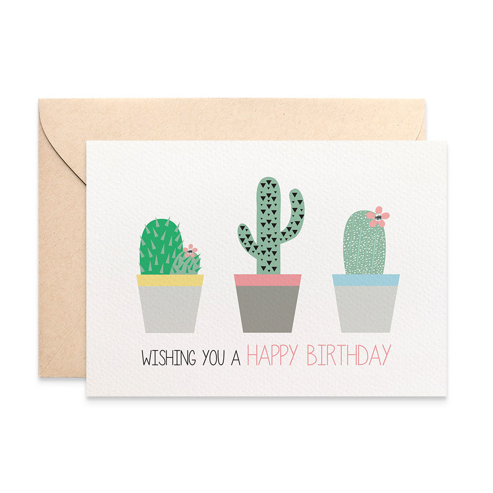 Cactus Cacti in Pots Greeting Card by mumandmehandmadedesigns- An Australian Online Stationery and Card Shop