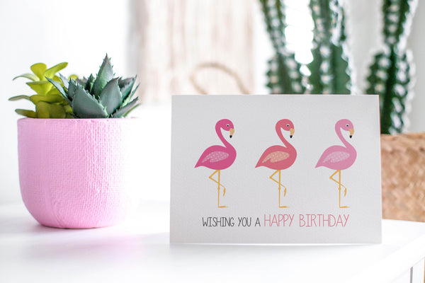 Pink Flamingos Greeting Card by mumandmehandmadedesigns- An Australian Online Stationery and Card Shop
