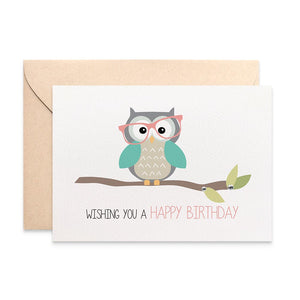 Owl with Glasses on Branch Greeting Card by mumandmehandmadedesigns- An Australian Online Stationery and Card Shop