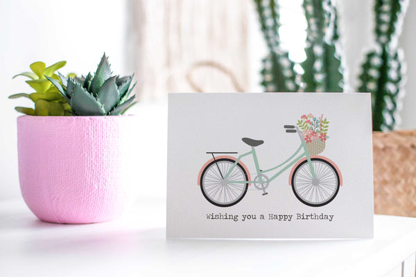 Coral and Mint Bicycle Greeting Card by mumandmehandmadedesigns- An Australian Online Stationery and Card Shop
