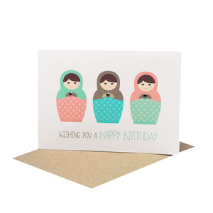 Russian Dolls Greeting Card by mumandmehandmadedesigns- An Australian Online Stationery and Card Shop