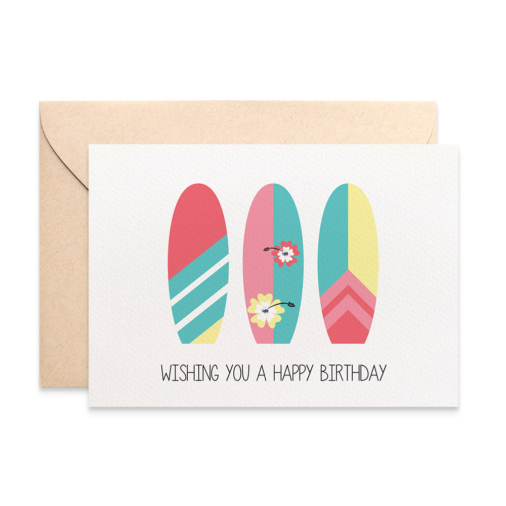 Surfboards Female Greeting Card by mumandmehandmadedesigns- An Australian Online Stationery and Card Shop