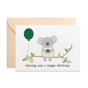 Koala with Balloon Greeting Card by mumandmehandmadedesigns- An Australian Online Stationery and Card Shop