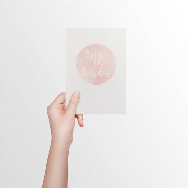 Watercolour Circle - Blush Greeting Card by mumandmehandmadedesigns- An Australian Online Stationery and Card Shop