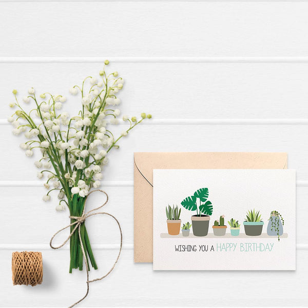 Indoor Plants on Shelf Greeting Card by mumandmehandmadedesigns- An Australian Online Stationery and Card Shop