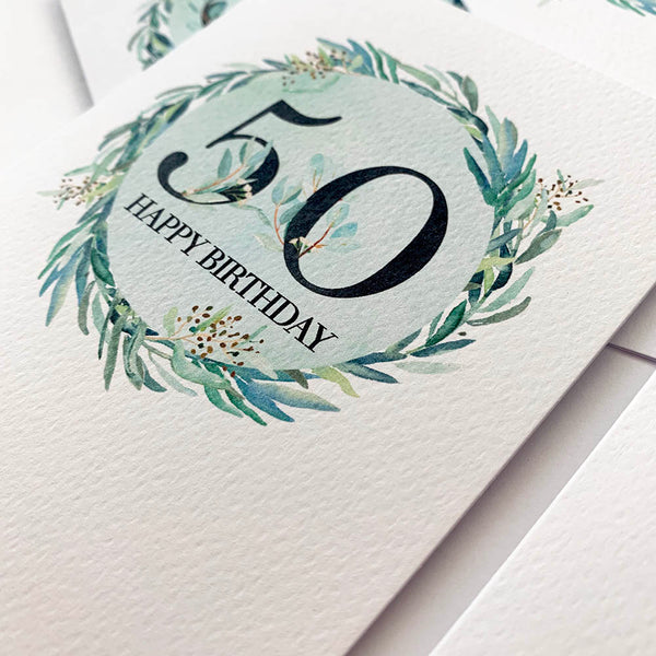 Eucalyptus Number - Any Age Greeting Card by mumandmehandmadedesigns- An Australian Online Stationery and Card Shop