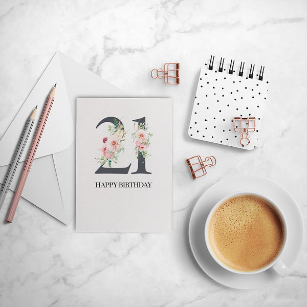 Pink Floral Number - Any Age Greeting Card by mumandmehandmadedesigns- An Australian Online Stationery and Card Shop