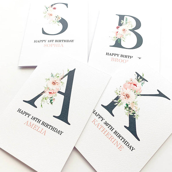 Personalised Floral Letter Greeting Card by mumandmehandmadedesigns- An Australian Online Stationery and Card Shop