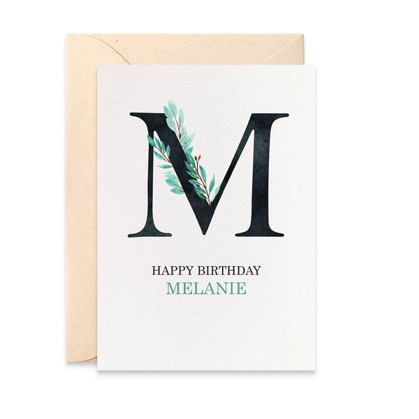 Personalised Eucalyptus Letter Greeting Card by mumandmehandmadedesigns- An Australian Online Stationery and Card Shop