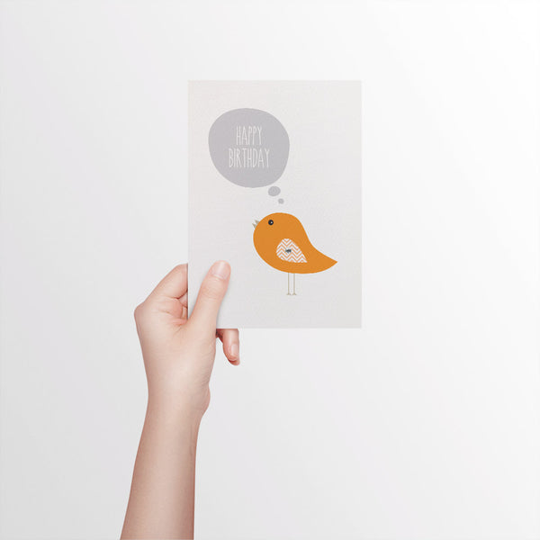 Orange Birdie with Bubble Greeting Card by mumandmehandmadedesigns- An Australian Online Stationery and Card Shop