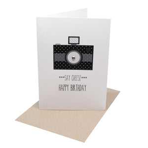 Black Polkadot Camera-Greeting Card-mumandmehandmadedesigns