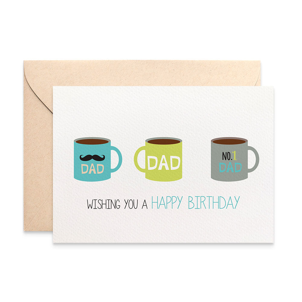 Coffee Cups for Dad Greeting Card by mumandmehandmadedesigns- An Australian Online Stationery and Card Shop