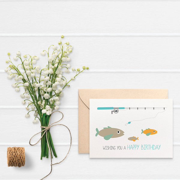 Fishing Rod with Fish Greeting Card by mumandmehandmadedesigns- An Australian Online Stationery and Card Shop