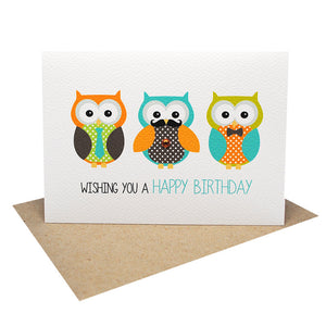 Men Owls Greeting Card by mumandmehandmadedesigns- An Australian Online Stationery and Card Shop