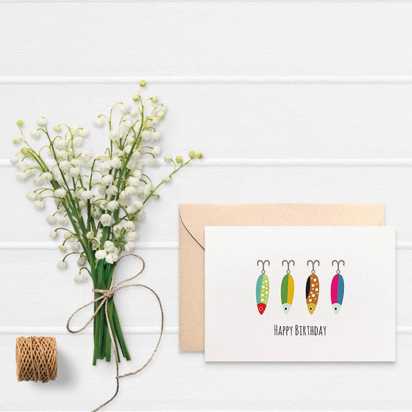 Fishing Lures Greeting Card by mumandmehandmadedesigns- An Australian Online Stationery and Card Shop