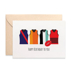 AFL Footy Jerseys Greeting Card by mumandmehandmadedesigns- An Australian Online Stationery and Card Shop