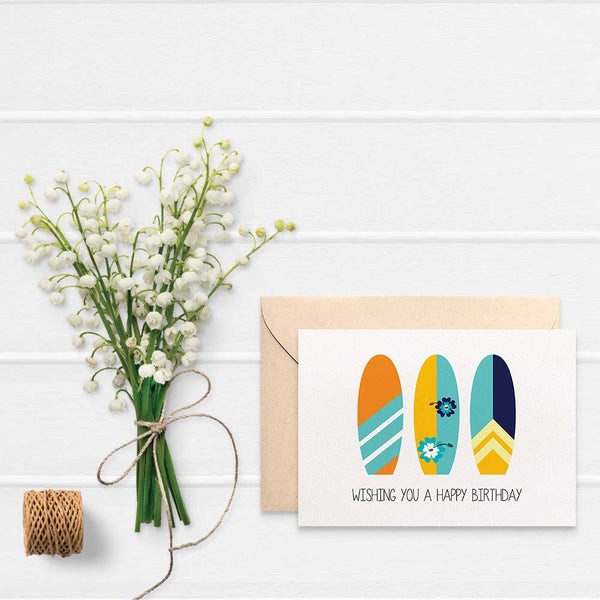 Surfboards Greeting Card by mumandmehandmadedesigns- An Australian Online Stationery and Card Shop