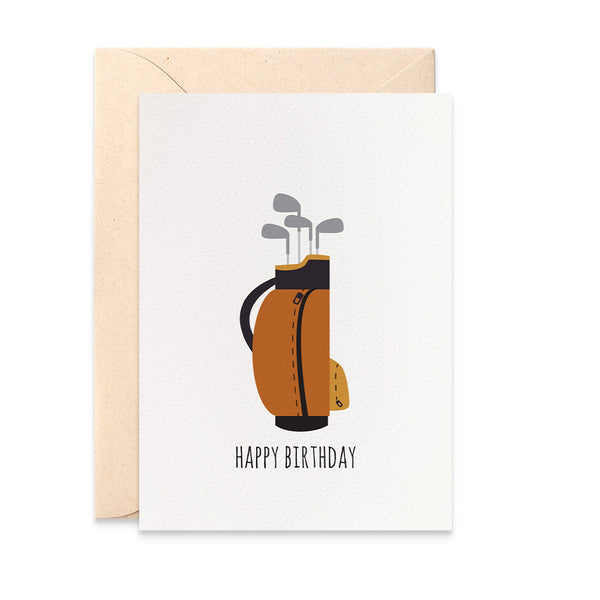Golf Bag and Clubs Greeting Card by mumandmehandmadedesigns- An Australian Online Stationery and Card Shop